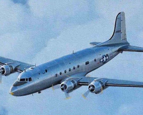Oil painting of C-54C Sacred Cow
