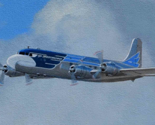 Oil painting on canvas of VC-118 Independence.