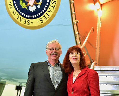Joan and I at the door of Air Force One
