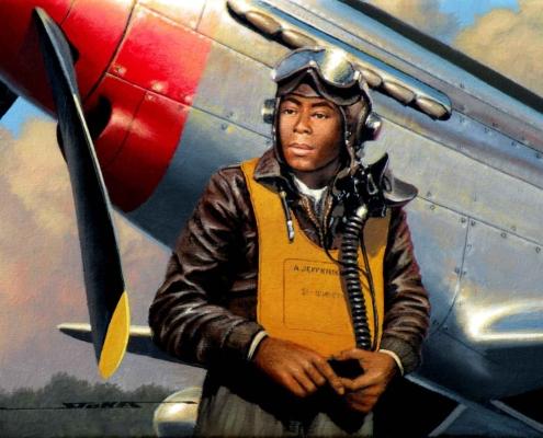 Stan Stokes painting of Tuskegee Airman Alexander Jefferson