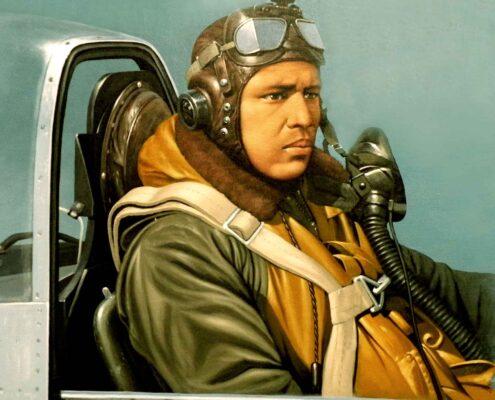 Stan Stokes painting of Tuskegee Airman Alton Ballard.