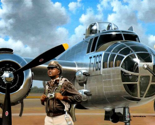 Painting of Tuskegee Airman Claude Davis by Stan Stokes