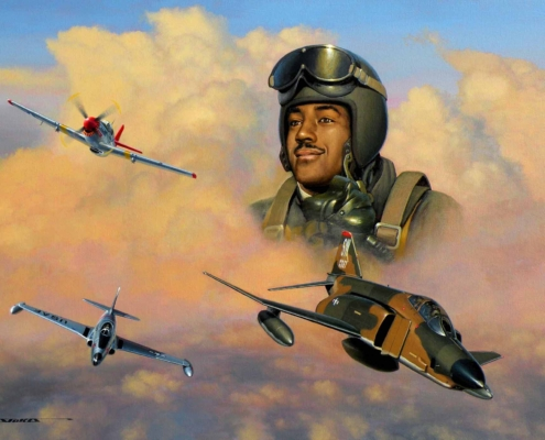 Painting of Charles McGee and the aircraft important to his career.