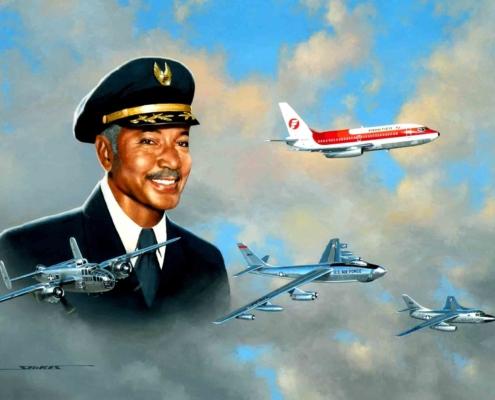 Tuskegee Airman Robert Ashby and his aircraft.