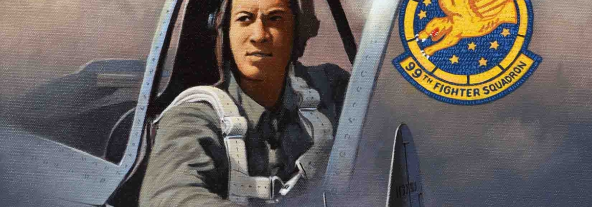 A painting of Tuskegee Airman by Stan Stokes. The painting is on display at the Palm Springs Air Museum.