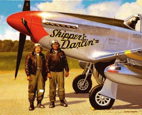 Tuskegee Airmen Andrew Turner and John Briggs.