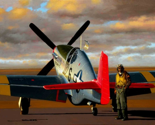 Stan Stokes painting of Tuskegee Airman Walter Palmer
