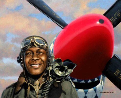 Stan Stokes painting of Tuskegee Airman Colonel William Campbell